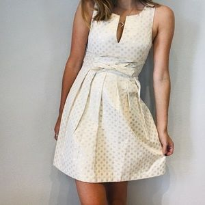 Anthro Quillaree polka dot tie front flare dress